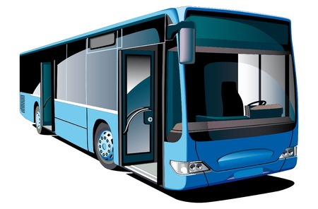 Detailed vectorial image of modern european low-floor bus, isolated on white background
