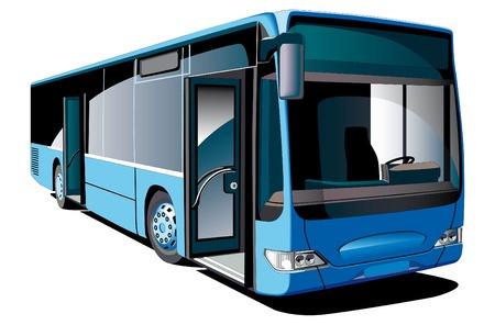 motorbus: Imagen vectorial detallada de modernos autobuses de piso bajo Europeo, aislados sobre fondo blanco