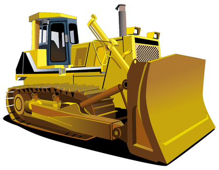 scraper: Detailed vectorial image of track-type tractor isolated on white background Illustration