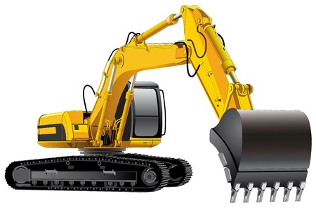excavator: detailed vectorial image of excavator isolated on white background