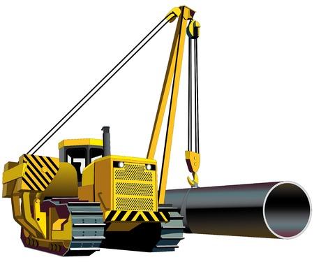 yellow tractor: Imagen vectorial de amarillo pipelayer aislado sobre fondo blanco