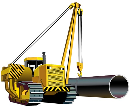 fitter: Vectorial image of yellow pipelayer isolated on white background Illustration
