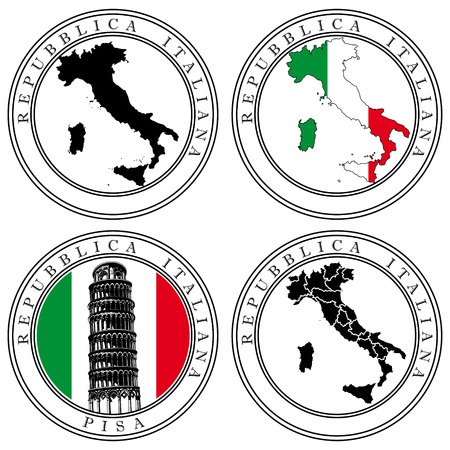 italia: Vectorial set of postal stamp on theme of Italia, executed in Italian National color. No blends and gradients.