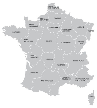 european maps: Vectorial map of France with provinces. No gradients and blends. Every province is separate curve. Names of  provinces are in separate layers.