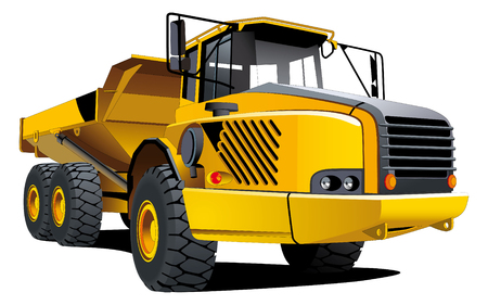 dump truck: Detailed vectorial image of yellow dumper isolated on white background Illustration