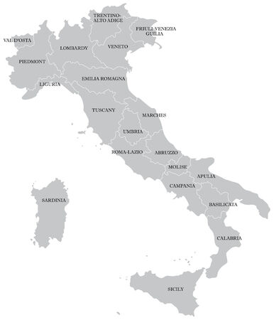 географический: Vectorial map of Italy with provinces. No gradients and blends. Every province is separate curve. Names of  provinces are in separate layers.