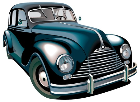 Detailed vectorial image of black old-fashioned car isolated on white background. Contains gradients and blends. Vector