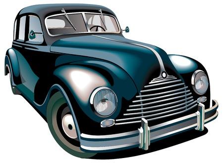 scheinwerfer: Detaillierte vektorielles Bild der schwarzen altmodischen Auto auf wei�en Hintergrund isoliert. Enth�lt Verl�ufe und Verbund-KEs. Illustration
