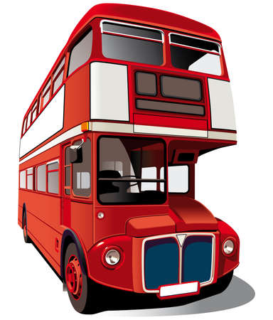 double decker bus: Detailed vectorial image of symbol of London - best-known of England double-decker bus -