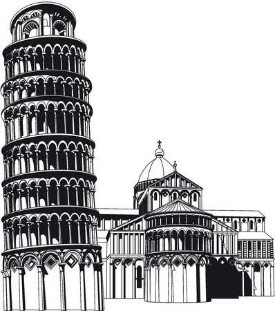Vectorial image of Campo Dei Miracoli - famous architectural monument of Renascence, which located in Pisa - age-old town in Italy. Illustration