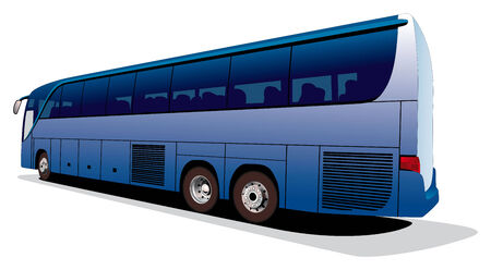 viagem: Vectorial image of big tourists coach isolated on white background. Contains gradients and blends. Ilustração