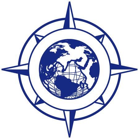 compass rose: vectorial vignette with wind rose and Earth, executed in blue color. No gradients. Illustration