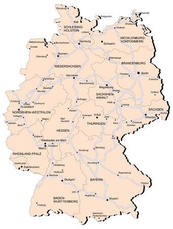 deutschland karte: Vectorial Karte Deutschland mit Provinzen und der Eisenbahn. Keine Farbverläufe und Mischungen. Jede Provinz wird separate Kurve. Namen der Provinzen, Städte und Railwey sind in separaten Ebenen.