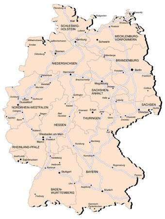 geographical locations: Vectorial map of Germany with provinces and of railway. No gradients and blends. Every province is separate curve. Names of  provinces, cities and railwey are in separate layers.