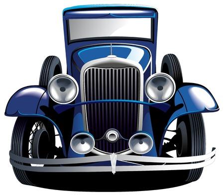 tiges: Image vectorielle d�taill�e de la voiture bleue vintage, isol�e sur les origines blancs. Contient des gradients et m�langes.  Illustration