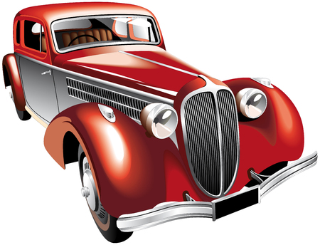 oldtimer: Detailed vectorial image of luxurious old-fashioned right-hand drive car, isolated on white background. Contains gradients and blends.