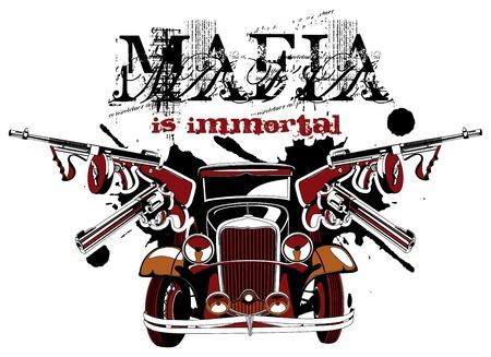 geweer: Groteske vectorial vignet op thema van maffia met inscriptie maffia is onsterfelijk. Geen verlopen en mengsels.