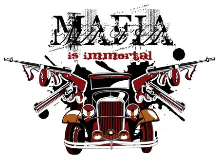 firearms: Grotesque vectorial vignette on theme of mafia with inscription Mafia is immortal. No gradients and blends. Illustration