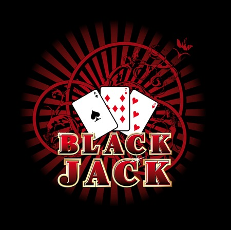 Vectorial composition with three cards and golden style inscription Black Jack on background with red rays and ornaments.  Vector
