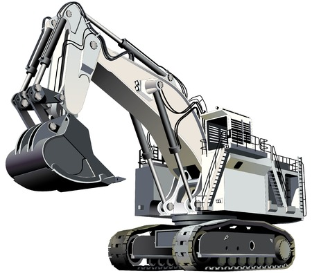 excavating machine: Detailed vectorial image of large white excavator, isolated on white background. Contains gradients and blends.