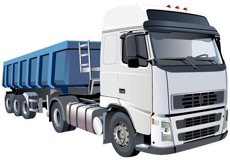camion volteo: Imagen vectorial detallada de gran dumper blanco, aislado sobre fondo blanco. Contiene degradados y fusiones.  Vectores
