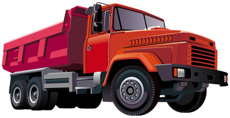 tipper: Detailed vectorial image of large european dumper, isolated on white background. Contains gradients and blends. Illustration