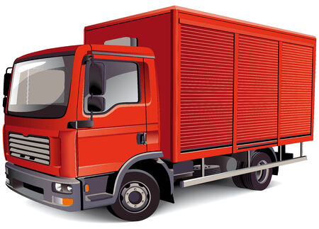Detailed vectorial image of red van, isolated on white background. Contains gradients and blends.