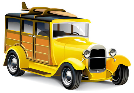 Vectorial image of old-fashioned yellow hot rod with wooden carcass, isolated on white background. Contains gradients and blends. Stock Vector - 7449501
