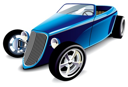 motorized: Vectorial image of old-fashioned blue hot rod, isolated on white background. Contains gradients and blends.
