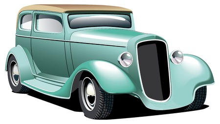 Vectorial image of old-fashioned green hot rod, isolated on white background. Contains gradients and blends. Иллюстрация