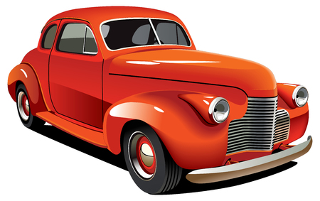 Vectorial image of old-fashioned red hot rod, isolated on white background. Contains gradients and blends. Stock Vector - 7877233