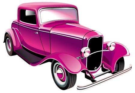 glam: Imagen vectorial de glamour vintage muscle car, aislado sobre fondo blanco. Contiene degradados y fusiones.