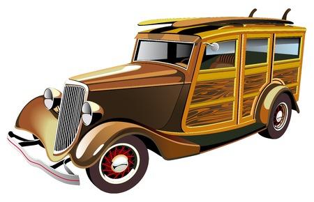 surf board: Imagen vectorial de anticuado amarillo hot rod con carcasa de madera y dos tablas de surf en techo, aislado sobre fondo blanco. Contiene degradados y fusiones.  Vectores