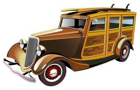 Rod: Vectorial image of old-fashioned yellow hot rod with wooden carcass and two surfboards on roof, isolated on white background. Contains gradients and blends. Illustration