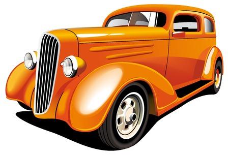 coche antiguo: Imagen vectorial de anticuado naranja hot rod, aislado sobre fondo blanco. Contiene degradados y fusiones.