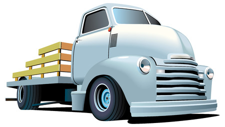 Vectorial image of vintage truck, isolated on white background. Contains gradients and blends.