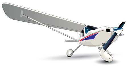 airscrew: Vectorial image of modern sporting airplane isolated on white background. Contains gradients and blends. Illustration