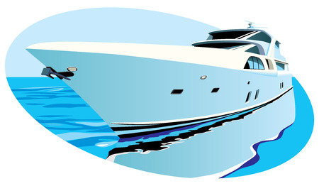 Vectoral oval vignette with large luxury yacht on background of ocean. Contains gradients and blends.