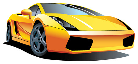Vectorial image of modern sport car, isolated on white background. Contained gradients. Vector