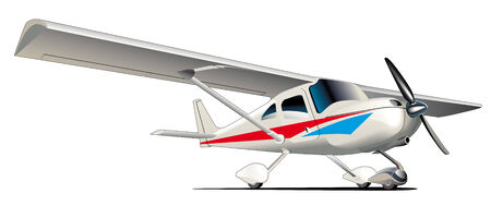 helical: Vectorial image of modern sporting airplane isolated on white background. Contains gradients and blends. Illustration