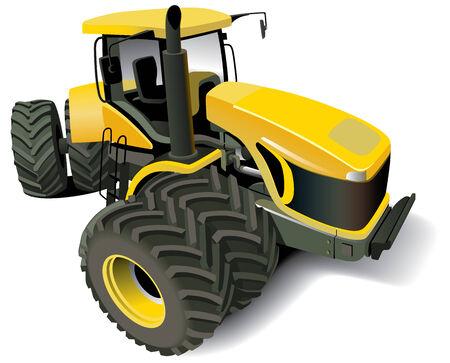 agrario: Imagen vectorial detallada de amarillo tractor moderna, aislado sobre fondo blanco.