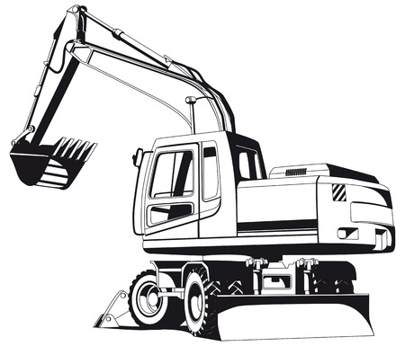 crawler: Detailed vectorial bw image of excavator Illustration