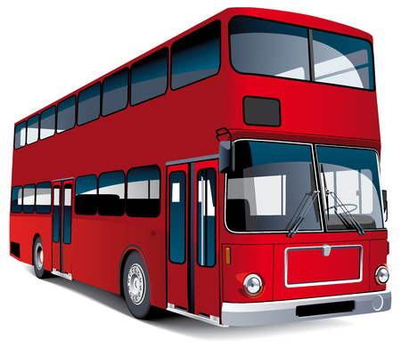 double decker: Detailed vectorial image of red European double decker bus, isolated on white background. Contains blends and gradients.