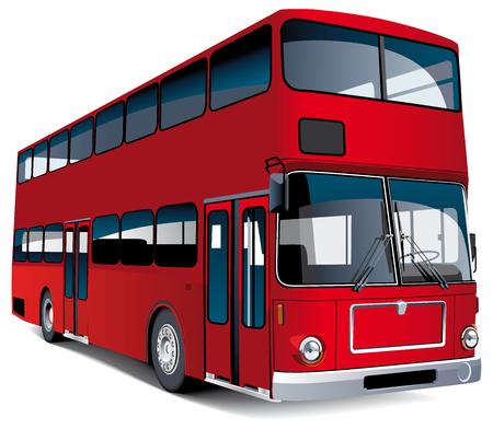 sosie: Image vectorielle d�taill�e de bus rouge europ�enne deux �tages, isol� sur fond blanc. Contient des m�langes et des gradients.