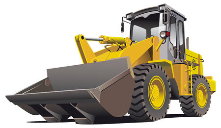 machinery: Detailed vectorial image of pale brown loader, isolated on white background. Contains gradients.