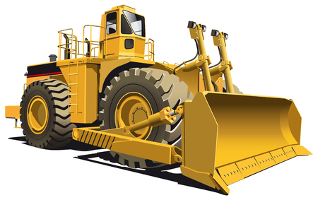 scraper: detailed vectorial image of wheeled dozer, isolaned on white background. Contains gradients. Illustration