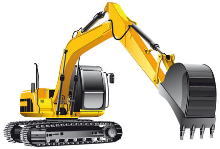 grab: detailed vectorial image of yellow crawler excavator, isolated on white background. File contains gradients, not blends and strokes.
