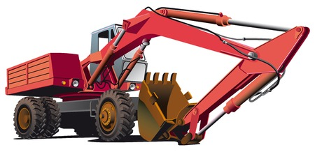 detailed vectorial image of red old-fashioned wheel excavator, isolated on white background. File contains gradients, not blends and strokes. Vector