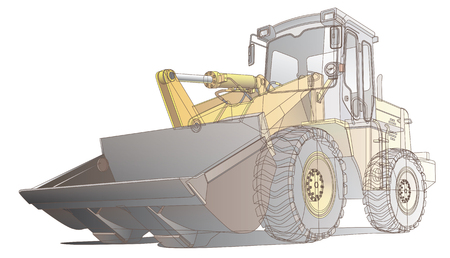 constructional: Detailed vectorial image of pale brown loader, isolated on white background. Contains gradients and transparency (isolated layer).
