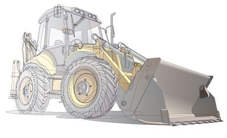 tractores: imagen vectorial detallada de backfiller amarillo y su cad�ver, aislado sobre fondo blanco. Contiene degradados y transparencia (capa aislada), ninguna de las mezclas.
